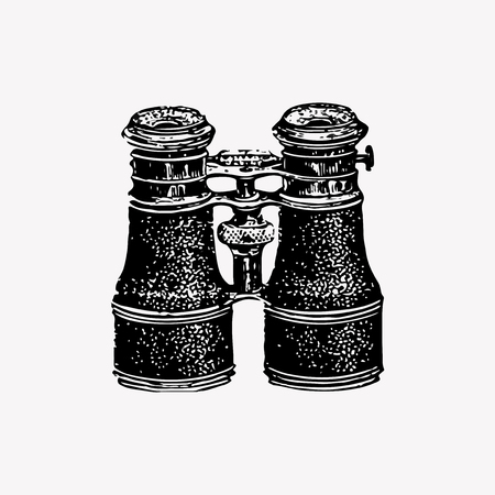 Drawing of vintage binoculars Illustration