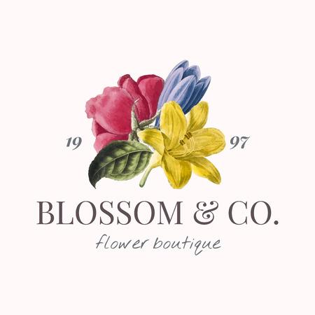 Blossom & co. flower boutique logo vector