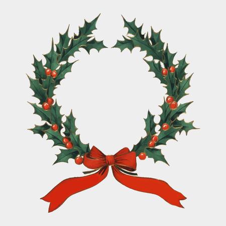 Corona di Natale vintage agrifoglio con nastri rossi vettore Vettoriali