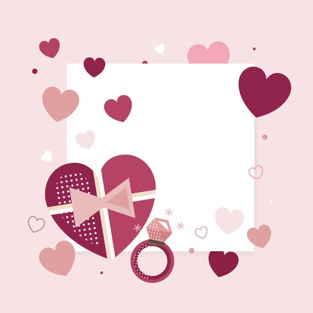 Valentine's Day blank background vector  イラスト・ベクター素材
