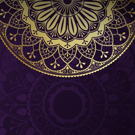 Golden mandala pattern on black background Ilustracja