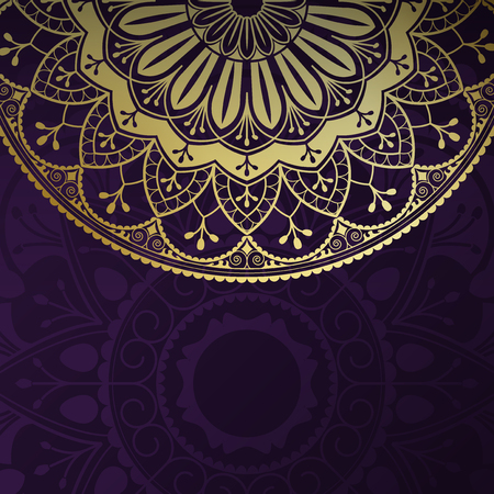 Golden mandala pattern on black background Illustration