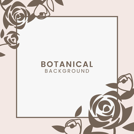 Brown botanical square framed vector