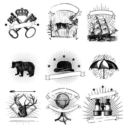Set of vintage badges vector Фото со стока - 116525632