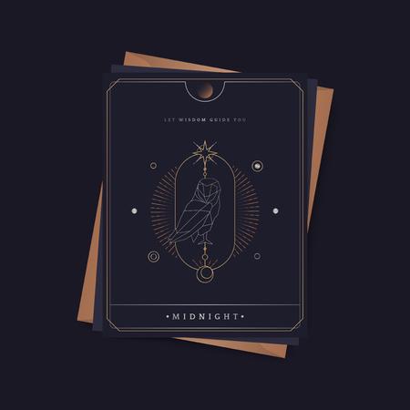 Geometric owl mystic symbol fortune card vector Illustration