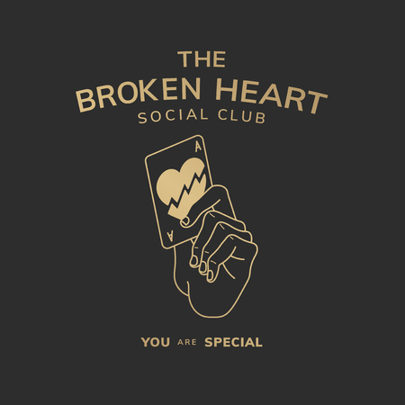 The broken heart social club logo vector 일러스트