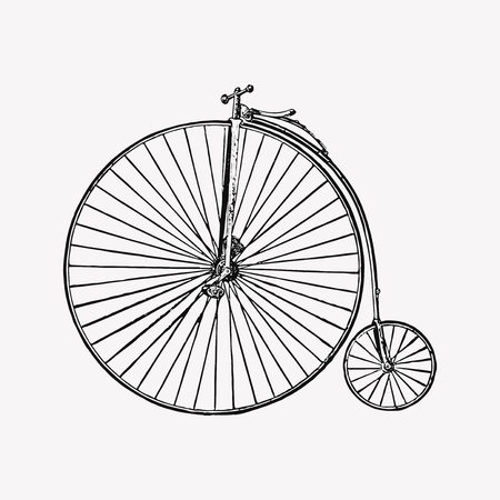 Vintage big wheel bicycle engraving vector