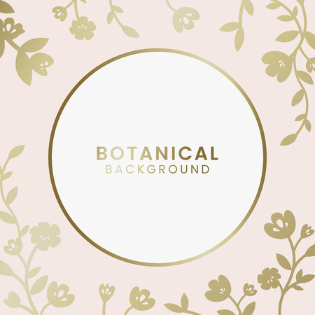 Gold botanical round framed vector