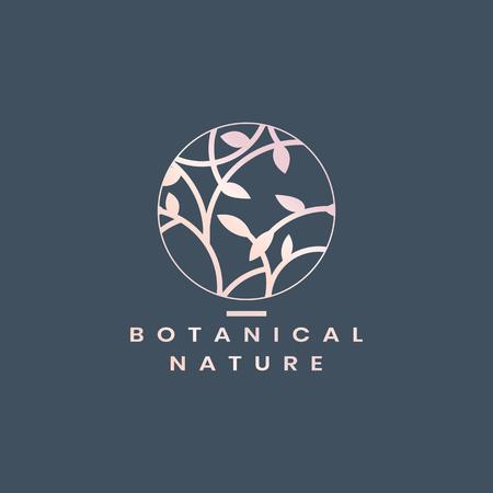 Botanical nature circle badge vector Archivio Fotografico - 116525648
