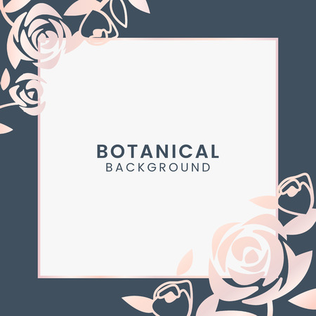 Pink botanical square framed vector