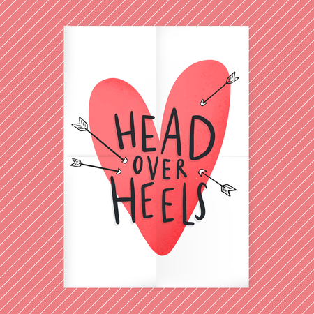 Head over heels in love text design 矢量图像