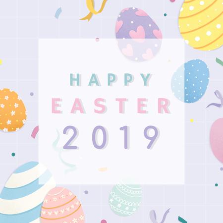 Happy Easter 2019 background vector Foto de archivo - 125376479