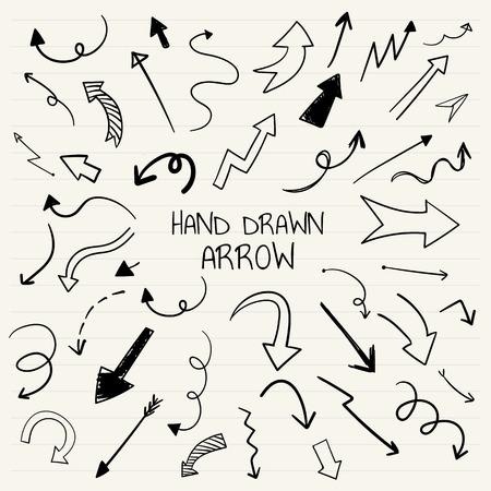 Hand-drawn doodle arrows vector set