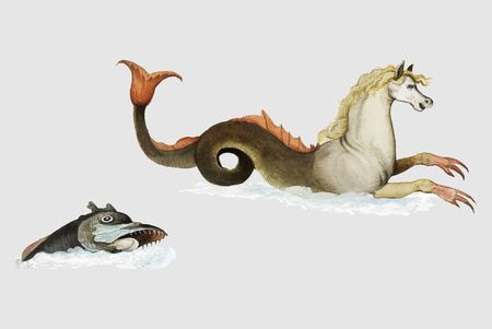 Vintage hippocampus and fish illustration vector Иллюстрация