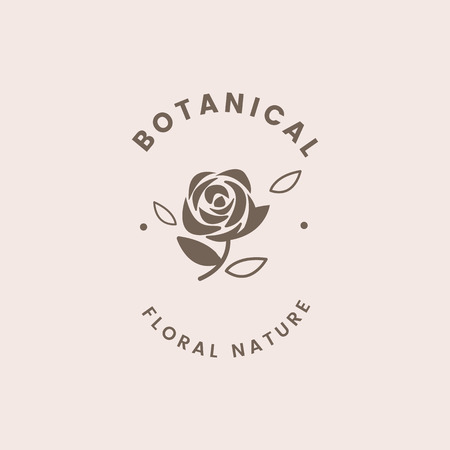 Botanical floral rose badge vector Illustration