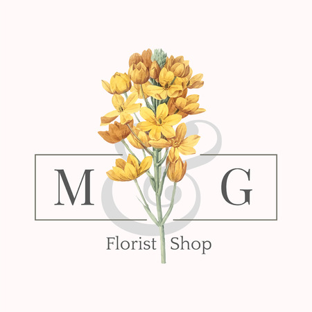 Florist shop logo design vector Illustration