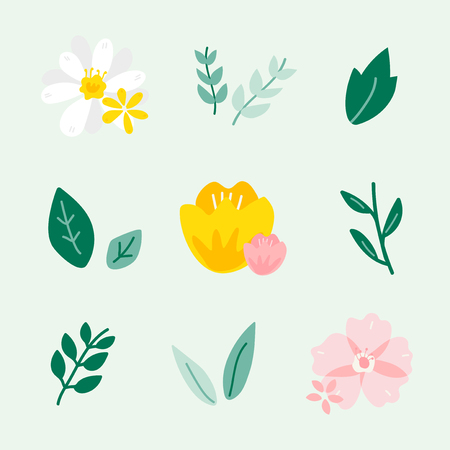 Colorful spring floral ornate vectors