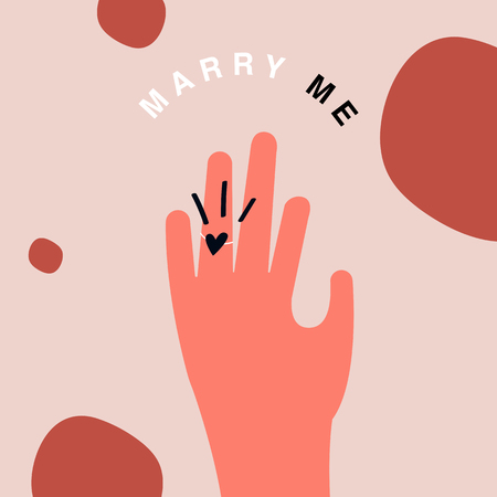 Valentine's Day marriage proposal character vector 일러스트