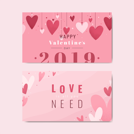 Happy Valentine's day 2019 card design vector set