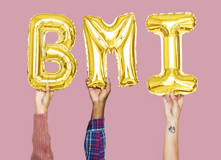 Hands holding BMI word in balloon letters