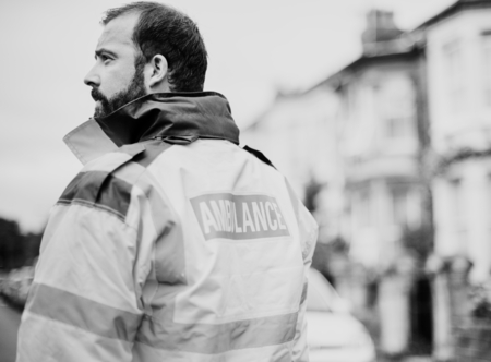 Portrait of a male paramedic in uniform Stock Photo