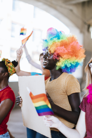 Cheerful gay pride and lgbt festival