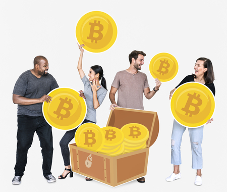 Diverse people investing in bitcoin cryptocurrency electronic cash