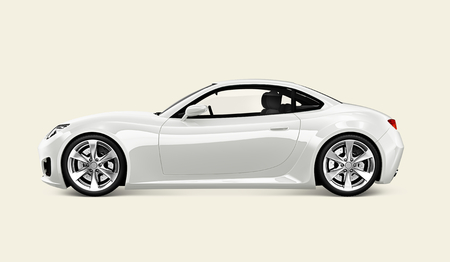 Side view of a white sports car in 3D Stock Photo - 116606014