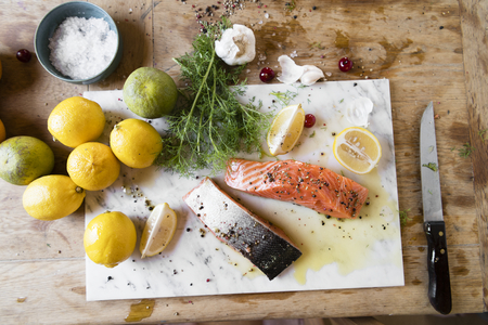 Fresh sliced salmon on a cutting board