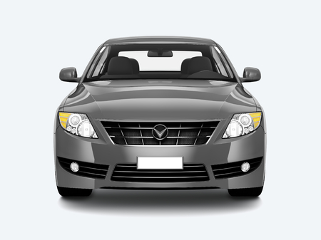 Front view of a silver sedan in 3D Stockfoto