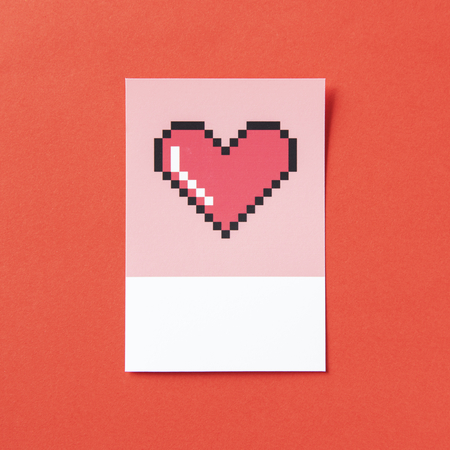 Pixelated heart shape 3D illustration Stock Illustration - 116606761