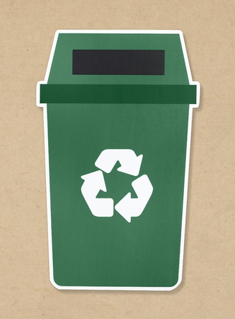 Green trash with recycle symbol