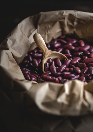 Paper bag filled with red beans
