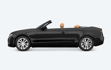 Side view of a black convertible in 3D