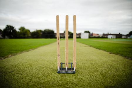 Wicket su un campo da cricket Archivio Fotografico