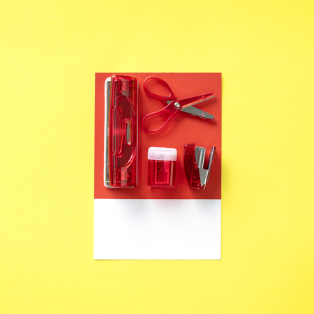 Red set of office supplies