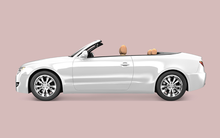 Side view of a white convertible in 3D 스톡 콘텐츠