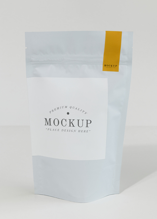 Resealable coffee bean bag mockup