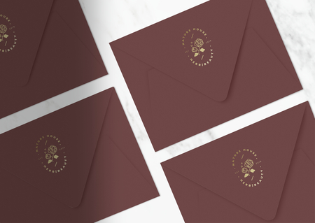Burgundy invitation card envelope mockups