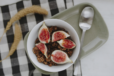 Fresh organic fig with cereal Stock Photo