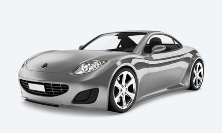 Vue latérale d'une voiture de sport argentée en 3D