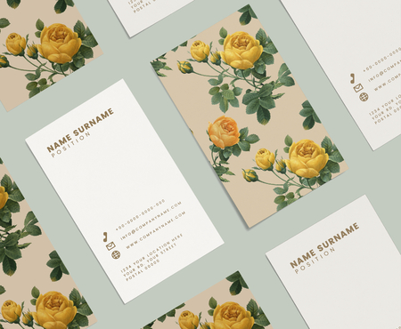 Floral business card template set mockup
