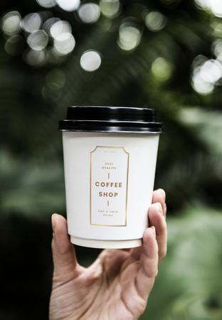Coffee cup design space premium mockup 版權商用圖片