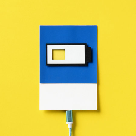 3d paper craft art of a charging battery