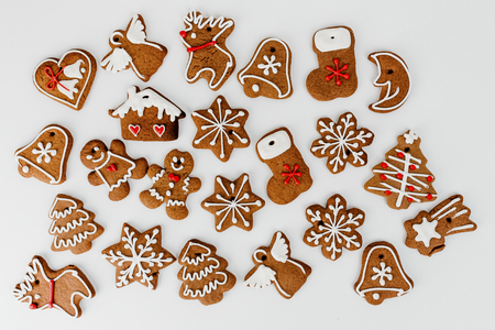 Christmas gingerbread cookies aerial view