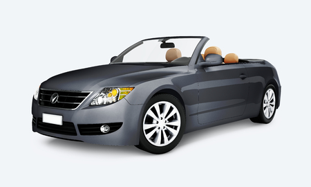 Side view of a gray convertible in 3D