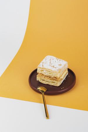 Freshly bake custard cake on a plate