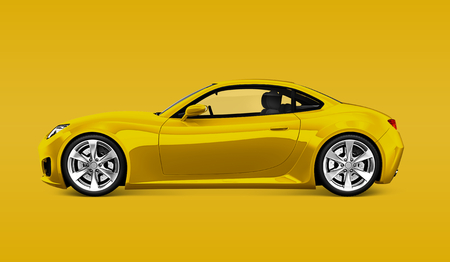 Side view of a yellow sports car in 3D Stock Photo