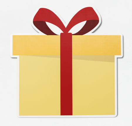 Gift icon with red ribbon vector illustration