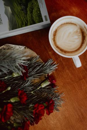 Relaxing coffee break during Christmas